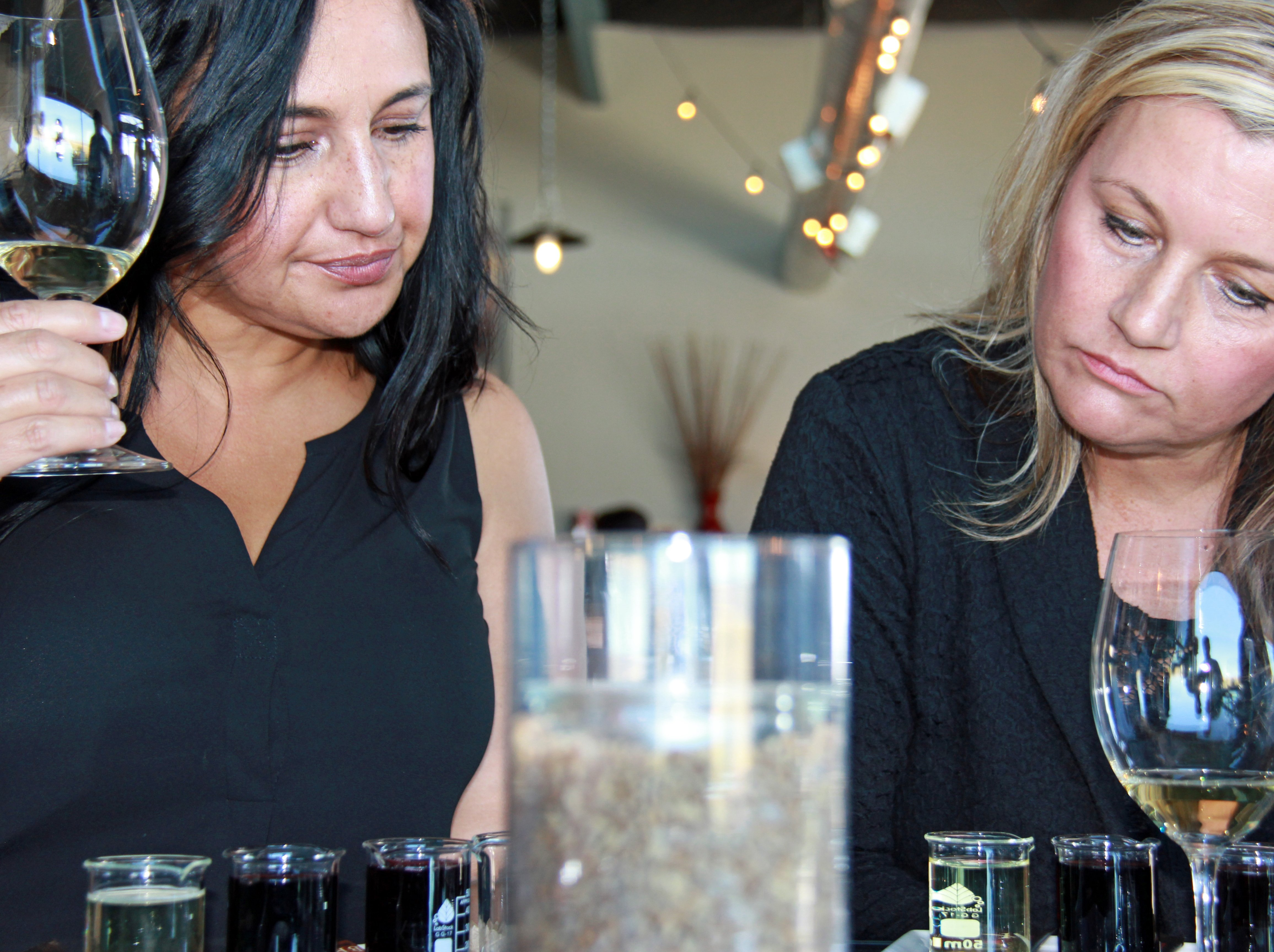 Reviewing the tasting notes at the Lindsay Creek Winery in Lewiston, Idaho