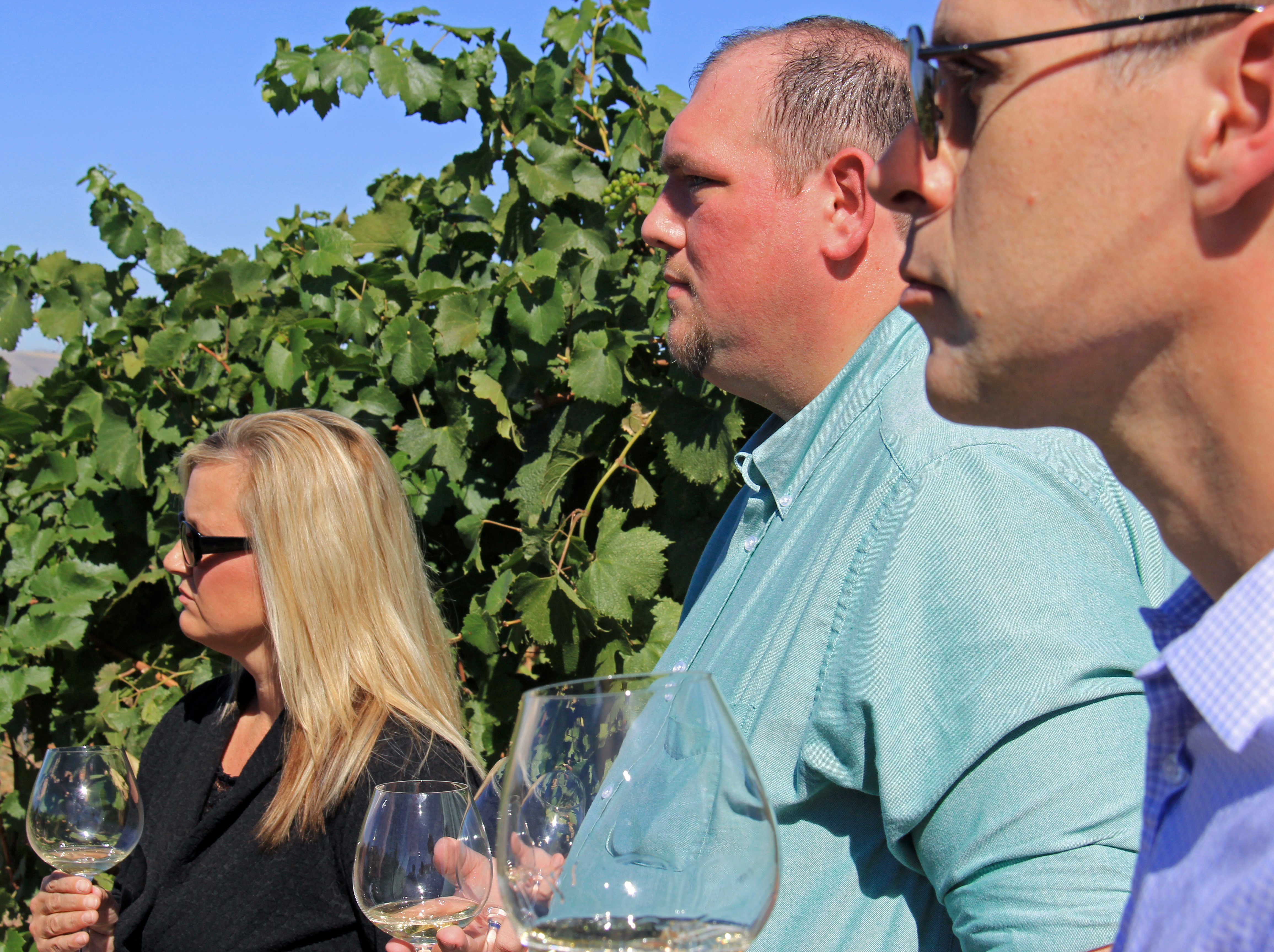 Guests listening to the guide while on the Twisted Vine Wine Tour